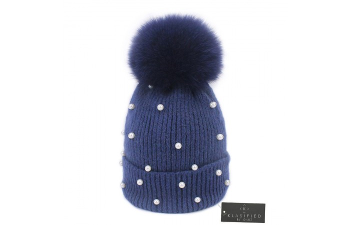 Klasified - Winter Wool Knitted Beanie Hat with Pearls & Detachable Fur Pom Pom for Women - Blue