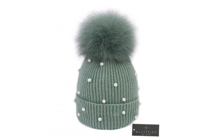 Wool Knitted Beanie Hat with Pearls & Detachable Fur Pom Pom