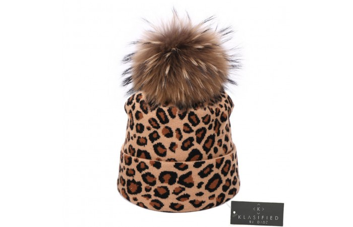 Leopard Wool Knitted Beanie Hat with Detachable Fur Pom Pom