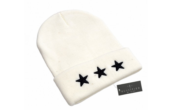 Wool Knitted Beanie Hat with Embroidered Stars